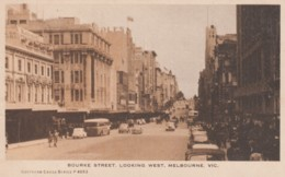 Melbourne Australia, Bourke Street Scene, Bus, Auto, Southern Cross #P4693, C1940s/50s Vintage Postcard - Melbourne