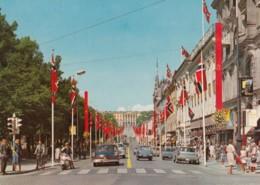 Oslo Norway, Karl Johan Street Scene, Motor Scooter Bicycle Auto, Flags C1960s Vintage Postcard - Norway