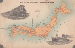 Japan, Map Of Government Railways, Railroad Transportation, C1900s/10s Vintage Postcard - Japan