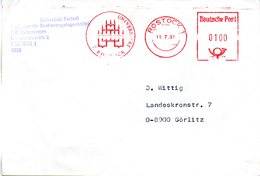 """(FC-10) DDR Aptierter AFS """"UNIVERSITÄT ROSTOCK"""" Deutsche Post 100(PF) 11.7.91 ROSTOCK 1 - DDR"""