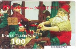 ALBANIA - Christmas 2002, Tirana Bank, Albtelecom Telecard 100 Units, 11/02, Used - Albanië