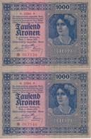 PAREJA CORRELATIVA DE AUSTRIA DE 1000 KRONEN  DEL AÑO 1922 SIN CIRCULAR - UNCIRCULATED (BANK NOTE) - Austria