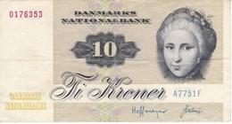 BILLETE DE DINAMARCA DE 10 KRONER DEL AÑO 1972 (BANK NOTE) - Dinamarca