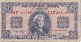 BILLETE DE HOLANDA DE 2,50 GULDEN DEL AÑO 1945  (BANKNOTE) WILHELMINA - [2] 1815-… : Kingdom Of The Netherlands