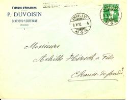 1910 Lettre De Geneveys S/Coffrane Vers La Chaux-de-Fonds, Avec Griffe. Publicite D'horlogerie Suisse - Horlogerie