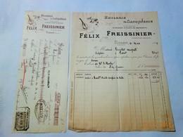 FACTURE ET TRAITE HUILE ET SAVONNERIE HUILE D'OLIVE DE PROVENCE FELIX FREISSINIER 1909 SALON BOUCHES DU RHONE - Alimentare