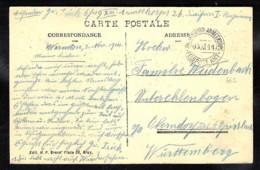 WWI 1914 Zk Bruxelles Place De Brouckère Stempel XIII (K.Württ) Armeekorps Feldpost Amt Van Warneton >Oberndorf - Oorlog 14-18