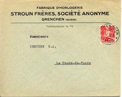 1938 Lettre De Grenchen Vers La Chaux-de-Fonds. Publicite D'horlogerie Suisse - Horlogerie