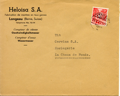 Longeau Vers La Chaux-de-Fonds, Lettre 1937. Publicite D'horlogerie Suisse - Horlogerie