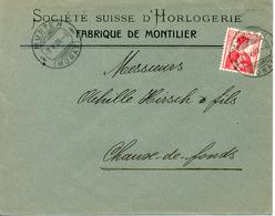 1909 Lettre De Montilier Vers La Chaux-de-Fonds. Publicite D'horlogerie Suisse - Horlogerie