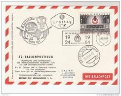 1964 AUSTRIA FDC Special BALLOON FLIGHT COVER (card) RADIO ANNIV Vienna Enzerdorf  Stamps Ballooning Broadcasting - Transport