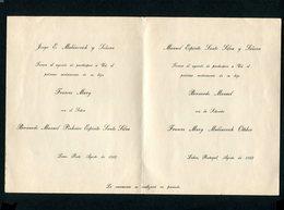 Convite Casamento BERNARDO MANUEL PINHEIRO ESPIRITO SANTO SILVA Com Frances Mary Mulanovich. PORTUGAL 1962 - Mariage