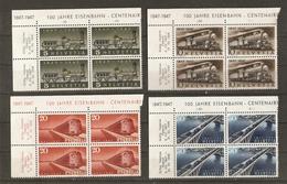 Suisse 1947 - Centenaire Des Chemins De Fer Fédéraux - Petit Lot De 4 Blocs De 4 NSG BDF - Nuovi