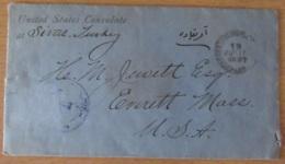 Turquie (Consulat Des Etats-Unis) - Enveloppe Datée De 1897 Avec Beau Cachet De Cire Du Consulat - 1858-1921 Empire Ottoman