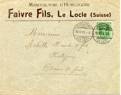 1909 Lettre De Le Locle Vers La Chaux-de-Fonds. Publicite D'horlogerie Suisse - Horlogerie
