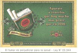 ORIGINAL SMOKE EDICION LIMITADA LUCKY STRIKE 2006 ARGENTINA TARJETA PUBLICIDAD MODERNA -LILHU - Reclame