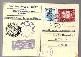 Erstflug Wien-Trieste –Milano Wiederaufbau Prof. Diplomat Ing. Paul Englert Wien R-CENSOR > Mohwinckel (449) - Premiers Vols AUA