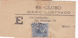 EL GLOBO. DIARIO ILUSTRADO. LA LOMBARDIA. AUTRES MARQUES. STAMP BLUE 5 CENTIMOS. SPAIN. FAJA STRIP CIRCA 1880s - BLEUP - Gezamelijke Uitgaven
