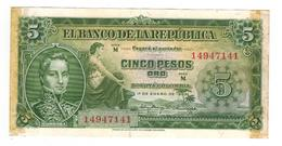 Colombia 5 Pesos 1953, XF, Some Glue, But Crisp XF, See Scan - Colombie