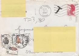 LETTRE Du 8/1/87 TAXÉE à 3.80F. Avec T 103 - 104 - 105 - 111 - Postage Due
