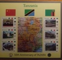 TANZANIA, 2018, MNH,  TAZARA RAILWAY, TRAINS, MOUNTAINS,FLAGS, MAPS, SLT +6v - Treni