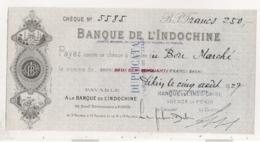 1927 CHEQUE / BANQUE DE L'INDOCHINE / AGENCE DE PEKIN CHINE  E12 - Chèques & Chèques De Voyage
