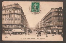 1 - LILLE - Rue Faidherbe - Place De La Gare ( Paris Coiffeur , Café Bulens , Tramway , Nombreux Commerces ) ELD - Lille