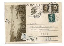 1937 CARTOLINA POSTALE TURISTICA30C. RACCOMANDATA BARI X CITTA CON IMPERIALE 30C. + 15C. - 1900-44 Vittorio Emanuele III