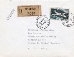 Lettre Recommandée Josne Loir Et Cher Blois Poste Aérienne Le Morane-Saulnier MS.760 Paris Avion à Réaction - 1960-.... Lettres & Documents