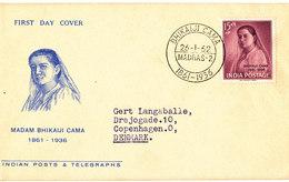 India FDC 26-1-1962 Madam Bhikaiji With Cachet Sent To Denmark - FDC