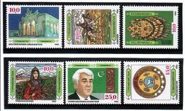 Turkmenistan-1992 History And Culture, 6v: 10.0 X4, 15.0, 25.0 Michel Nr. 4-9 - Turkménistan
