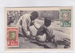 ETHIOPIE. ABYSSINIE. REMEDES. LA SAIGNE. 2 COLOR STAMPS OBLITERE 1920-RARE-BLEUP - Ethiopië
