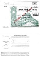 Chèque Postal De Voyage Bon Pour 5000 Fr Spécimen Sans Valeur Vue Du Mont St Michel Avec Cachet à Sec - Chèques & Chèques De Voyage
