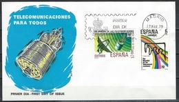 Spain. Scott. # 2149-50 FDC. Telecommunication UIT. Joint Issue Of 1979 - Joint Issues