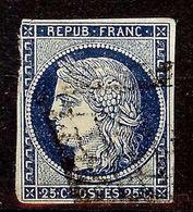SUPERBE CERES N°4a 25c Bleu Foncé Oblitéré GRILLE 1849 Cote 70 Euro PAS D'AMINCI - 1849-1850 Cérès