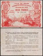 2 FRANCs 1922 ROUEN - Billet De Nécessité - Chambre De Commerce - FRANCE - Chamber Of Commerce
