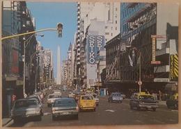 BUENOS AIRES - AVENIDA CORRIENTES - VISTA PANORAMICA - Seiko - Cars The Beatles Fiat 126 Ford Peugeot - Argentina