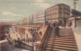 ALGER. L'ESCALIER DE LA PECHERIE ET LE BOULEBARD DE LA REPUBLIQUE. LL CIRCA 1910 VINTAGE VIEW. ALGERIA-BLEUP - Alger