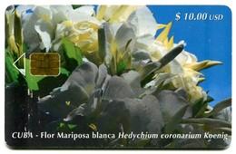 Cuba Etecsa - CU-066 - Flor Mariposa Blanca (Hedychium Coronarium Koenig) - Cuba