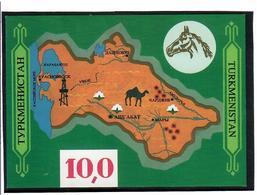 Turkmenistan-1992 Camel On Map. Imperf S/S: 10,0 Michel Nr. BL 1 - Turkménistan