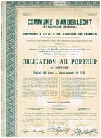 Obligation Ancienne - Commune D'Anderlecht - Emprunt De 3 1/2% De 5.000.000 De Francs 1907 - Actions & Titres