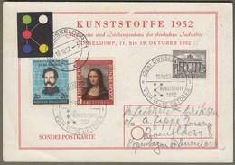 """Bund: Sonderkarte Mi-Nr. 148 Mona Lisa, 155 C. Schurz U. B. Nr. 42: """" Fachmesse Kunststoffe Düsseldorf 1952 """" !   X - Gebraucht"""