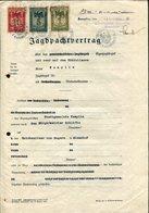 HUNTING Germany 1935 Templin Revenue 1+5+10 RM Preussen Stempelmarke Fiscal Tax Document Gebührenmarke JAGD Deutschland - Germany