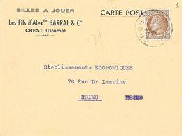 Carte Postale De Correspondance 1946 - Billes à Jouer, Les Fils D'alex Barral & Cie, Crest - Cartes Postales