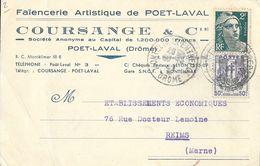 Carte Postale De Correspondance 1946 - Faïencerie Artistique De Poët-Laval (Drôme): Coursange & Cie - Cartes Postales