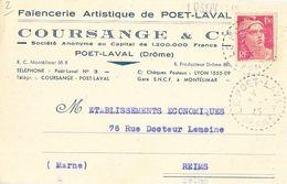 Carte Postale De Correspondance 1945 - Faïencerie Artistique De Poët-Laval (Drôme): Coursange & Cie - Cartes Postales
