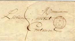 1848- Petite Enveloppe  Avec Cad Entrée ILES-C / GRANVILLE Rouge  Taxe 5 D De Jersey Ou Guernesey Pour Coutances - Postmark Collection (Covers)