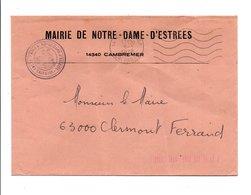LETTRE DE MAIRIE DE NOTRE-DAME-D'ESTREES CALVADOS - Marcophilie (Lettres)