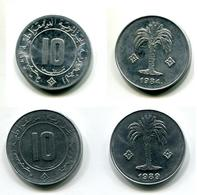 10 Centimes 1984 Et 10 Centimes 1989 Type Palmier FDC - Algérie