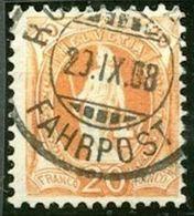 Schweiz Suisse 1907: 14 Zähne+Faser 14 Dents+fibres Zu 94A Mi 88D Yv 106 - 20c Orange O FAHRPOST 20.IX.08 (Zu CHF 5.00) - 1882-1906 Wappen, Stehende Helvetia & UPU